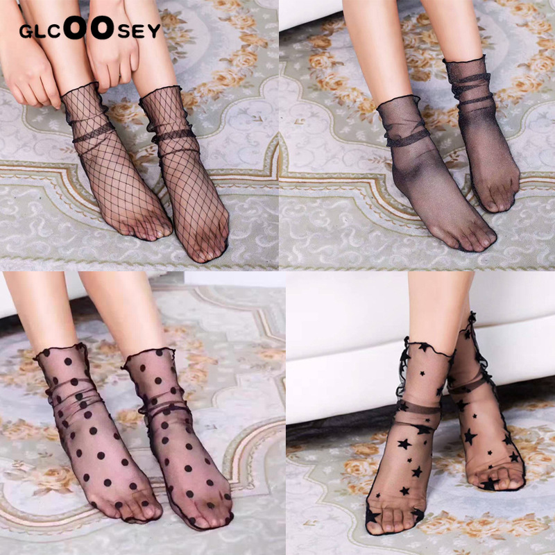 1Pair/pack Ladies Sexy Socks Summer Thin Tube Transparent Mesh Socks Woman Wild Breathable Lace Fishnet Stock Ing Female