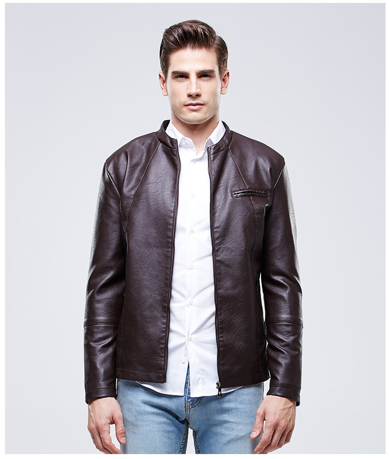 232650c9a8d Men Autumn Winter Stand Collar Pu Leather Fleece Lined Jacket Mens Warm  Velvet Faux Leather Jackets and Coats Black Brown Red-in Faux Leather Coats  from ...