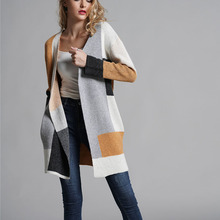 Autumn Winter Women Long Cardigans Casual Patchwork Knitted Sweaters Womens Clothes