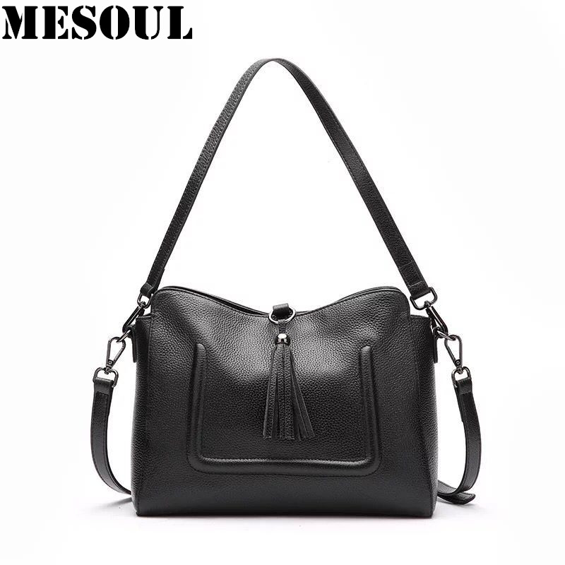 Casual Simple Genuine Leather Female Handbag Fashion Tassel Messenger Bag Women Shoulder Bag Top-Handle Bags Purses Travel Bag n light бра b 891 1 матовое золото