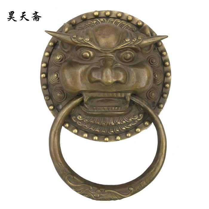 [Haotian vegetarian] bronze copper door ring HTA-049 Chinese antique copper faucet handle money цена 2017