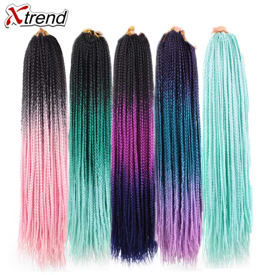Xtrend Ombre Box Braid Hair Extensions Synthetic Crochet Braids Hair 24inch 22 Strands Per Pack Pure Purple Pink Blue Color
