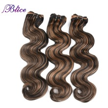 Blice Synthetic Hair Weaving 18-26 Inches Mixed #P1B/27 Body Wave Double Long Weft Sew in Extensions 100G/Piece 3Pieces/Lot