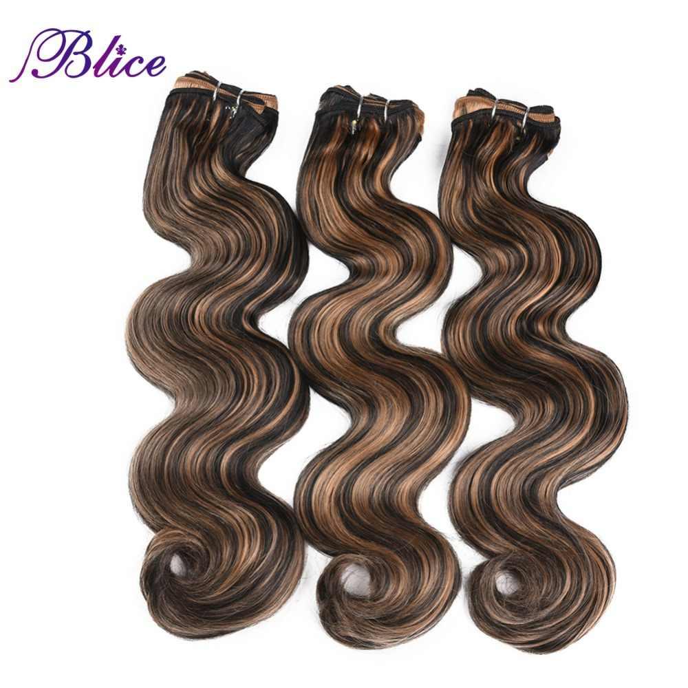 Blice pelo sintético tejido 18-26 pulgadas mezclado # P1B/27 onda del cuerpo doble trama larga coser extensiones de cabello 100 g/unid 3 unids/lote