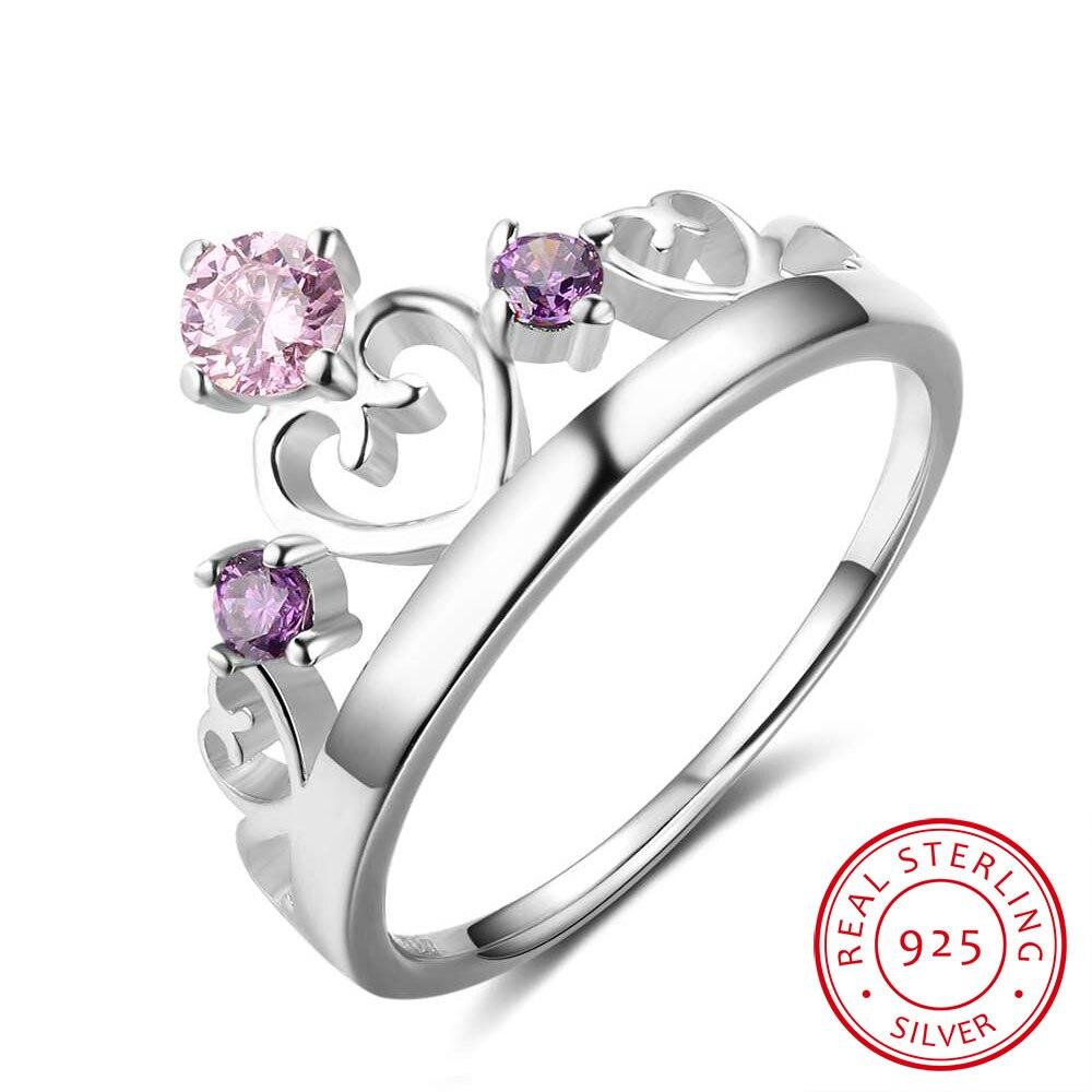 women 925 sterling silver rings crown shape wedding bands