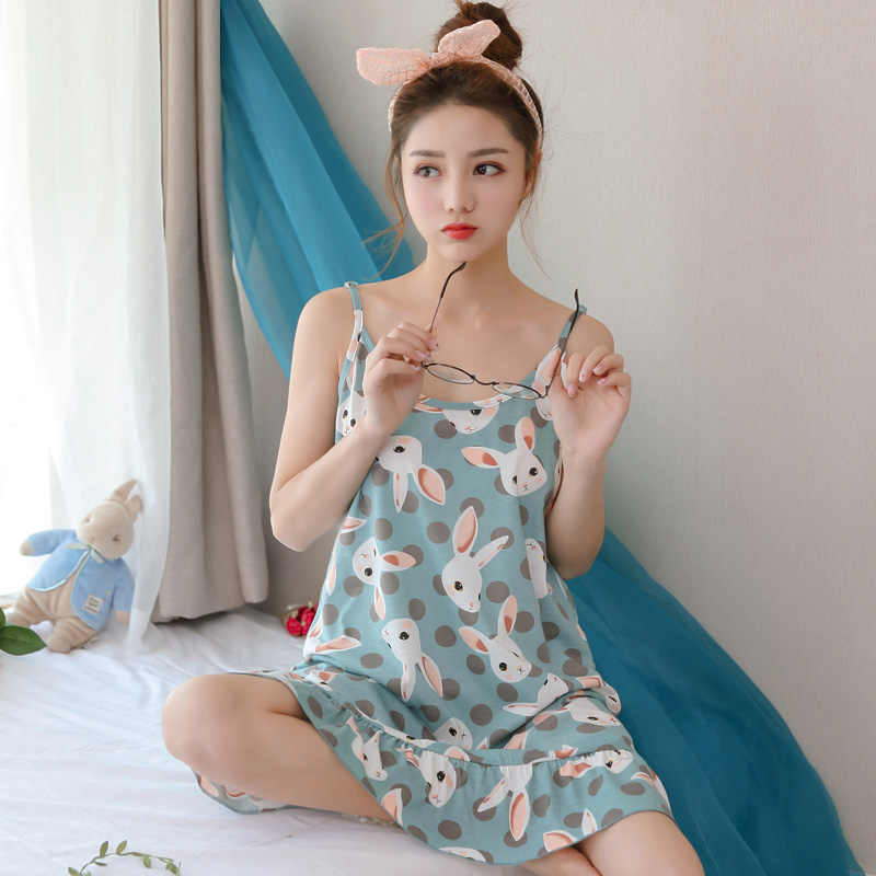 Yidanna 2018 Sleeveless Sleepwear Sexy Lingerie Pijamas Female Nightgowns  Cotton Sleepshirts Nightdress Women Nighties Summer ab256f4ee