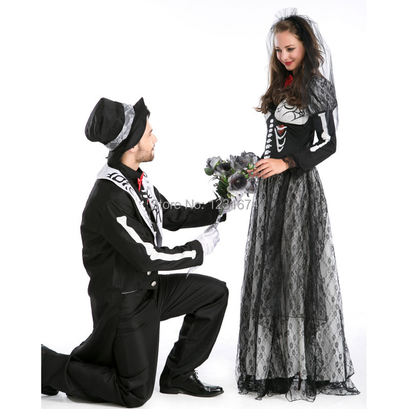 new arrival couples halloween ghost skeleton cosplay costume ghost bride zombie scary stage movie masquerade costume