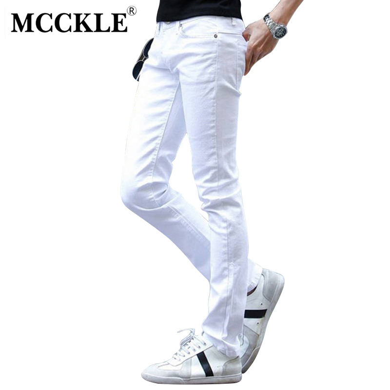 MCCKLE Fashion White Ripped Jeans Men With Holes Skinny Famous Designer Brand Slim Fit Destroyed Torn Jean Pants mens jeans  2016 new fashion mens designer ripped stretch biker jeans slim fit elastic skinny pencil jean pants famous brand black red white