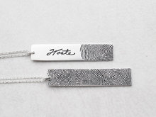 personalized actual fingerprint pendant necklace customized jewelry memorial gift engraved words on Christmas birthday gift