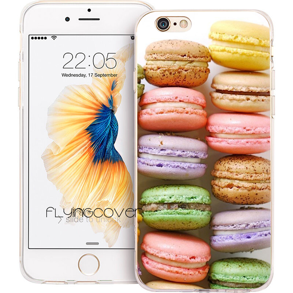 Coque Macaron Macaroons Transparent Clear Soft TPU Phone Cases for iphone 7 7Plus Case for iPhone
