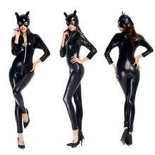 d84dc6c088e FIRST FEELING Plus Size M-XXL Catwoman Faux Leather Catsuit Black PVC  Bodysuit