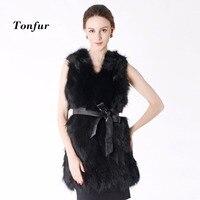 New Real Raccoon Fur Vest Long Custom Multi Color Factory Wholesale Nature Fox Fur Gilet Genuine Fox Fur Vest TBNT506