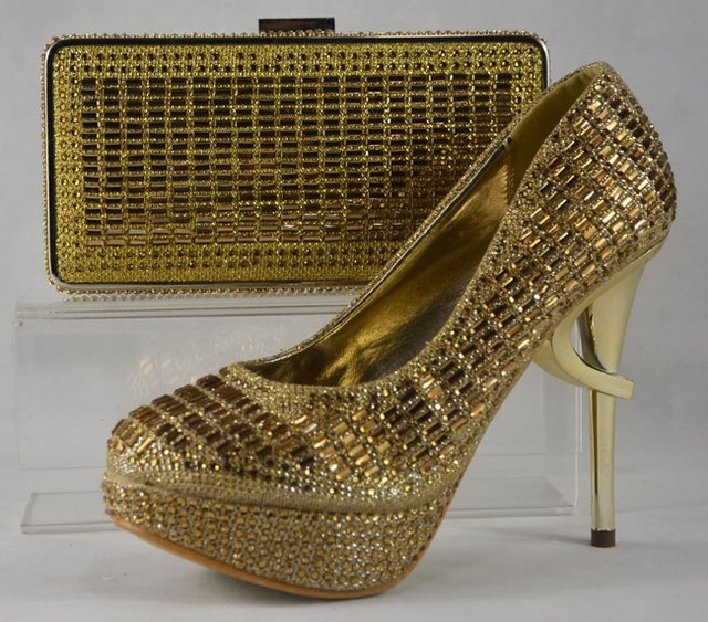 Beautiful Las Shoes And Bags Sets Italian Matching Shoe Bag Set Gold Color