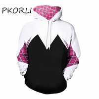 Pkorli Fahsion Hoodies Men Women Spiderman Cosplay Clothing Red Plaid Outfit Casual Spider Man Pullover Male