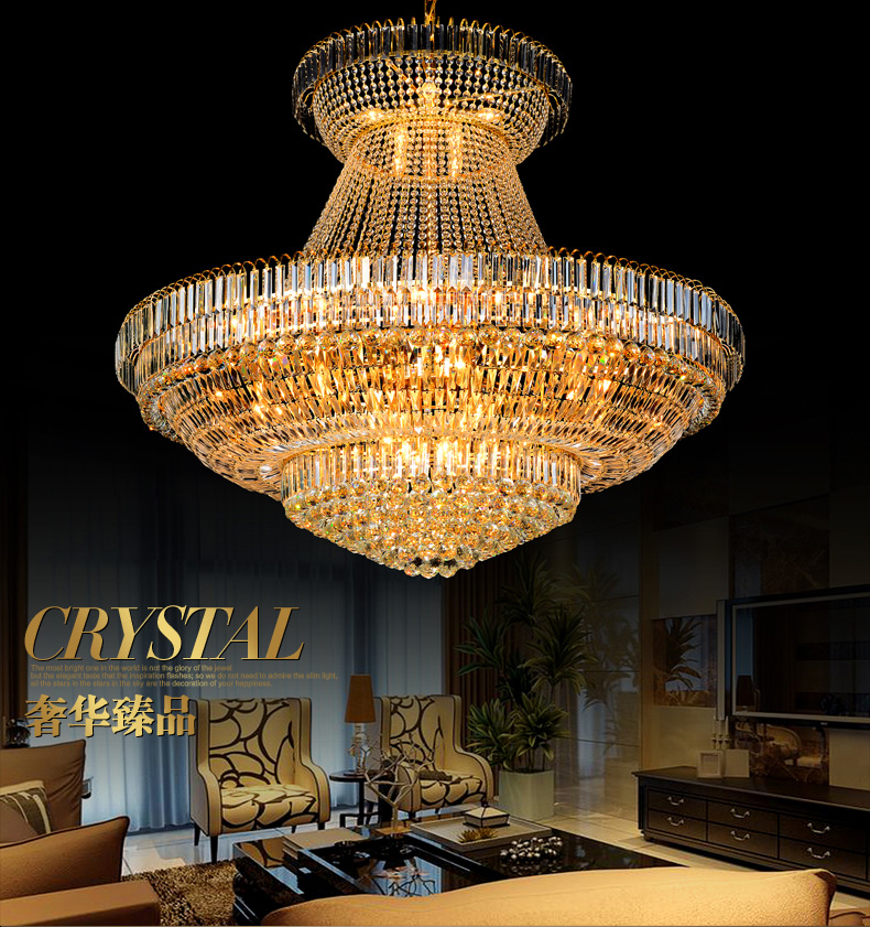 Modern Emas Kristal Chandelier Lampu Fixture Droplight Bulat Besar - Pencahayaan dalam ruangan - Foto 3