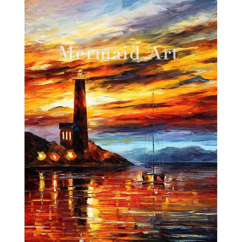 Hand Painted The Lighthouse Landscape Abstract Palette font b Knife b font Modern Oil Painting Canvas