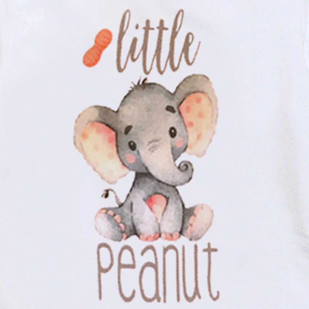Moda na co dzień maluch dzieci kombinezon dziewczynka chłopiec list słoń drukuje topy body Romper kombinezon ubrania dla dzieci kombinezon