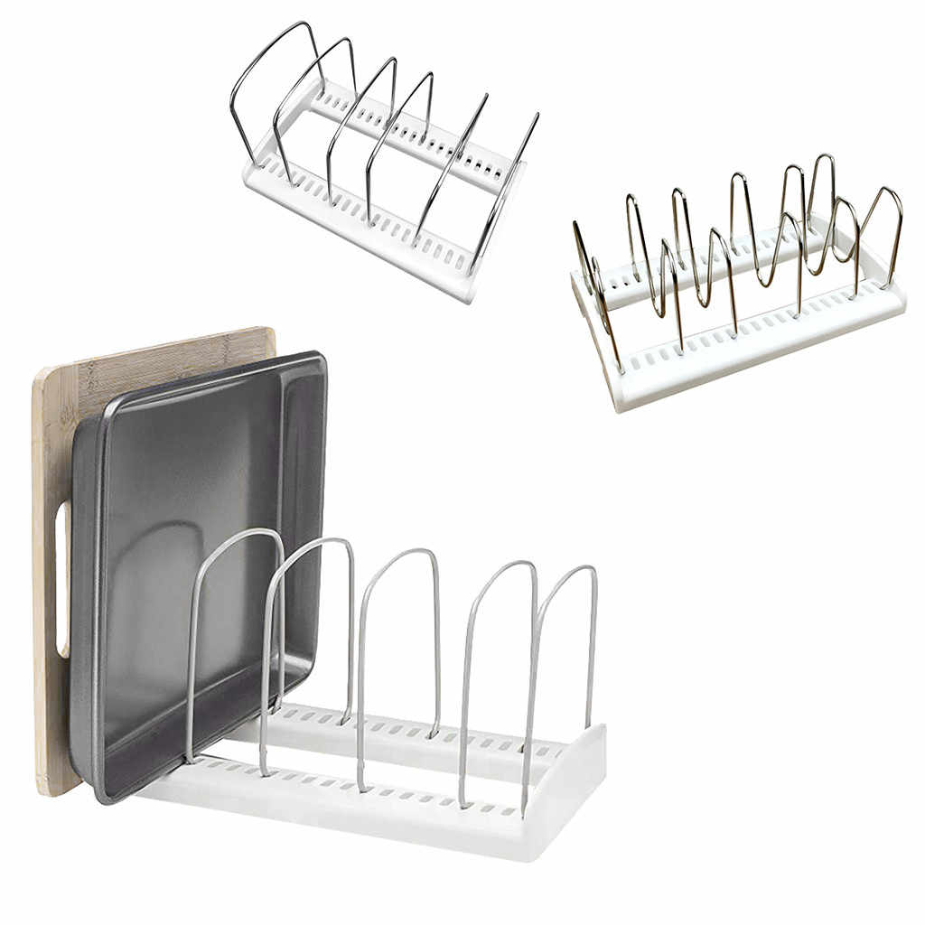 Adjustable Pot Lid Rack Pan&Cutting Board Holder Stand Kitchen Organizer Dual Racks Chopping Board Shelf stainless steel