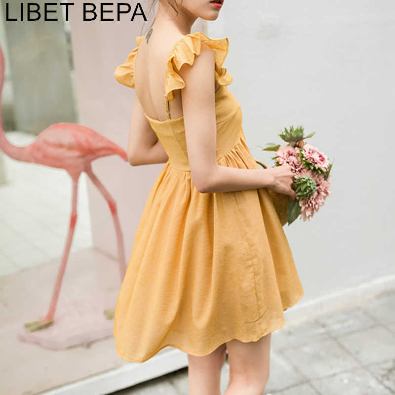 2019 Spring Summer Women Dress Vintage Big Hem Spaghetti Strap Ruffles Ball Gown Sleeveless Backless V-Neck Mini Dress DR1831