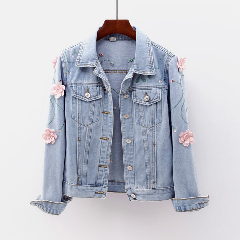 Women Floral Embroidery Denim   Jacket   Coat Long Sleeve Casual Jeans   Jacket   Flower Embroidered   Basic     Jackets   Women Tops Outwear