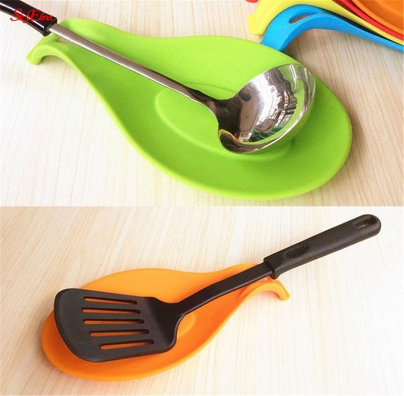 "1pc 10/"" kitchen untensil tool spoon rest ladle spatula holder chef/'s helper"