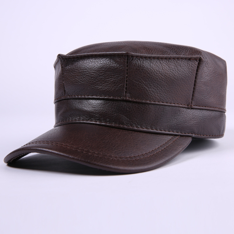 Winter leather hat men leather flat cap fashion warm earmuffs peaked cap winter fashion men genuine leather peaked cap ceiling earmuffs dome hat male keep warm adjustable real leather hats for parents