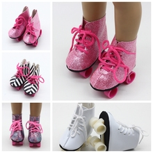 New Arrival Doll Boots 4 Colors Doll Roller Skates  For 18 Inch American For 43cm Baby New Born Dolls  Birthday Gift For Girl hot sell new 18 inch 45cm for american girls dolls fur snow boots shoes for alexander doll accessory baby born doll girl gift