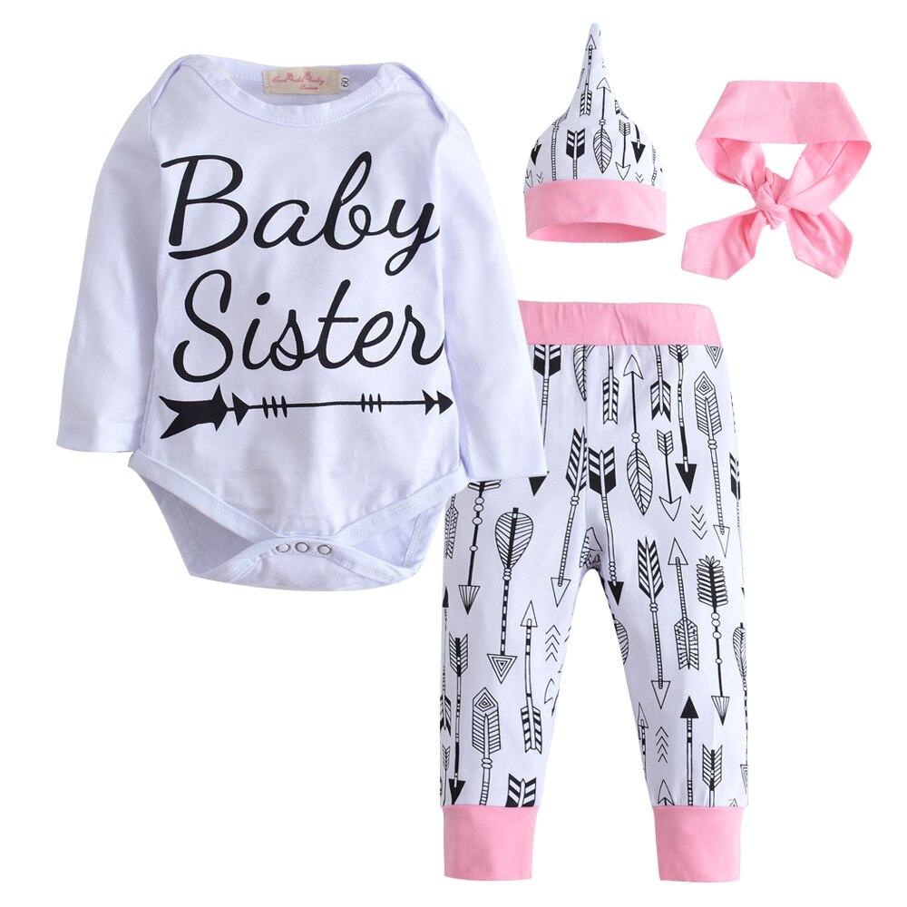 2018 Newborn Fashion Autumn Baby girl Clothing Set Cotton Romper +Pants + Hat +Headband Toddler 4 pcs set