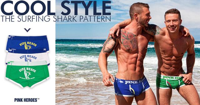 PINK HEROES Comfortable Underpants Beach Vacation Cartoon Printing U Bag Man Flat Foot Underpants mens underwear boxers