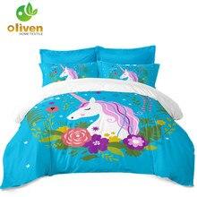 Princess Unicorn Bedding Set Colorful Floral Print Duvet Cover Girls Cartoon Bedclothes Home Textile D45