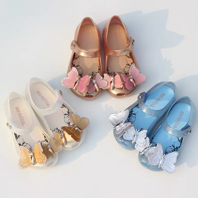 Mini Melissa Original 2019 Butterfly Sandal Girls Jelly Sandals Bow Girl Princess Sandals Kids Beach Shoes Melissa Baby Shoes