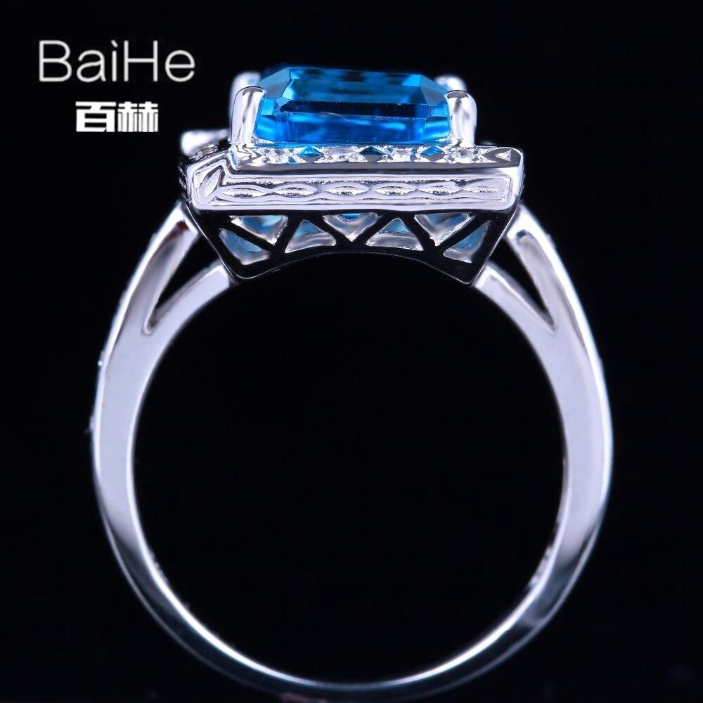BAIHE стерлингового серебра 925 4.36ct Сертифицированный Изумрудный безупречный 100% натуральной голубой топаз Обручение Для женщин классический ...