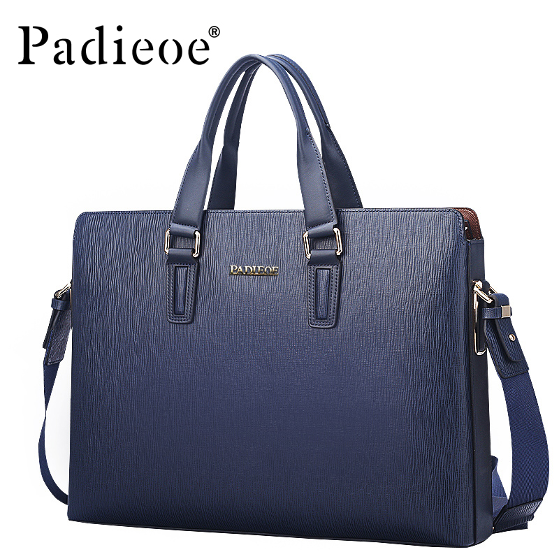 Padieoe Luxury Brand Genuine Leather Men Briefcase Laptop Bag Fashion Men's Business Bags Casual Leather Messenger Bag For Men