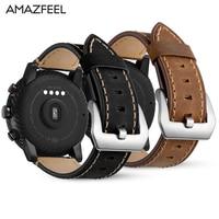 22 мм группа для оригинальный Xiaomi Huami Amazfit 2 Stratos темп ремешок из натуральной кожи smart watch пульсометр браслет