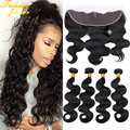 13X4 Ear To Ear Lace Frontal Closure With Bundles Peruvian Virgin Hair Body Wave With Closure Peruvian Human Hair Lace Frontal
