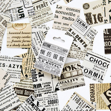 45pcs/pack Retro Newspaper Mini Craft Paper Label Scrapbook Adhesive Sticker DIY Diary Album Small Cards Bookmark