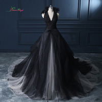 Dream Angel Fashionable Deep V Neck A Line Wedding Dresses 2018 Royal Train Appliques V Neck Vintage Vestido De Noiva Plus Size