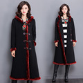 Windbreaker Winter new thickening national wind Outerwears women 's long black Hooded cotton coat