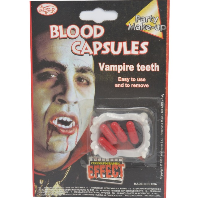 1pcs blood capsules vampire teeth 2017 new 1 set 4 bloody pills capsules scary halloween party