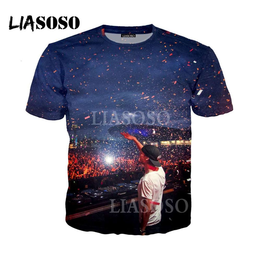 LIASOSO Men Women Print Music Dj Avicii T Shirt Short Sleeves O Neck Summer Casual Wake Me Up Unisex T-shirt casual t shirt li12