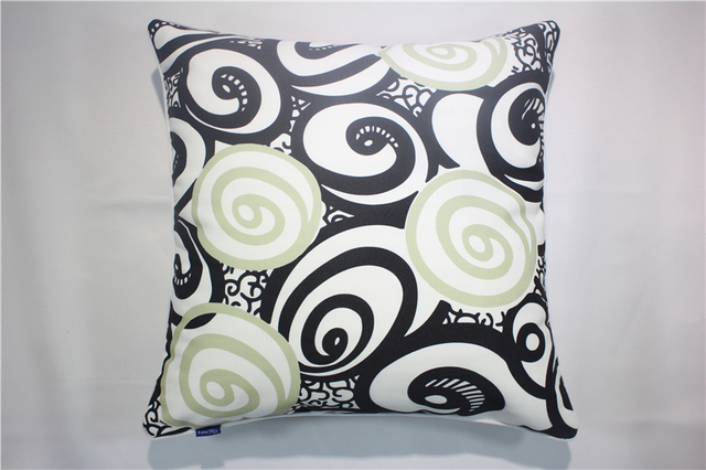 Vintage Swirl Pattern Cotton Linen Cushion Covers With Piping Decorative Sofa  Pillow Cases Black Throw Pillow