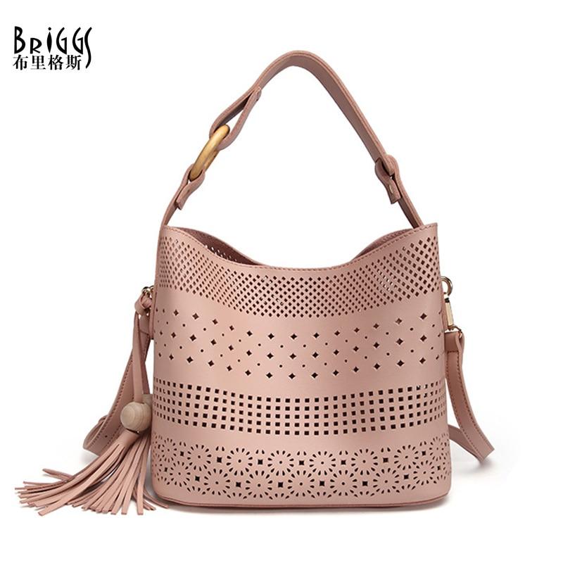 BRIGGS Hollow Out Women Shoulder Bag Female High Quality Composite Bag Ladies PU Leather Messenger Bag Women Famous Brand