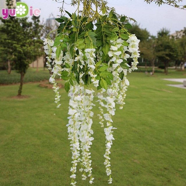 10pcs romantic artificial silk wisteria hanging flowers hanging fake 10pcs romantic artificial silk wisteria hanging flowers hanging fake flower garden home decoration wedding party purple mightylinksfo Images