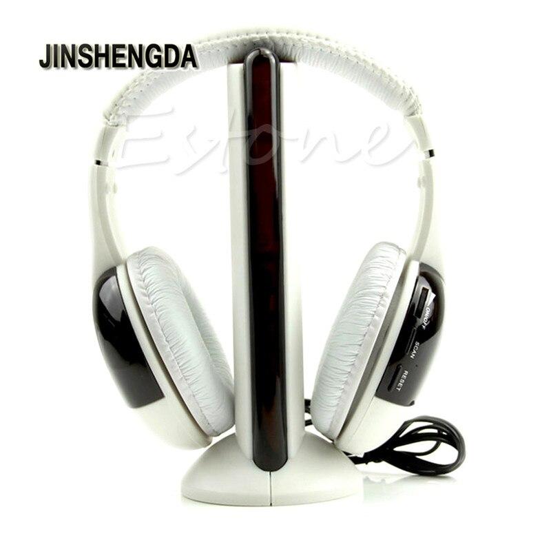 JINSHENGDA Headset Earphone  Hi-Fi 5 IN 1 WIRELESS EARPHONE HEADPHONE HEADSET FOR PC LAPTOP TV FM RADIO original bingle b616 computer tv earphone multifunction wireless headset headphone with fm radio for mp3 pc tv audio