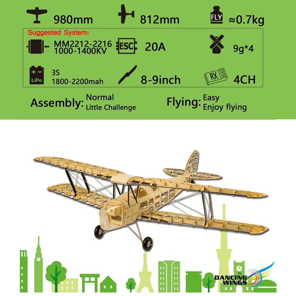 Wood RC Airplane Dancing Wings Hobby S1901 Balsa Tiger Moth Remote Control Biplane Unassembled KIT Version DIY Flying Model 1