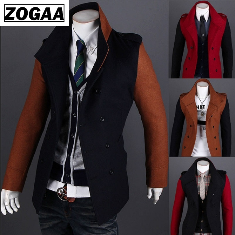 Navy Men Mandarin Collar Long Sleeve Simple Style jacket suit in Jackets from Men 39 s Clothing