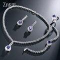 ZAKOL Trendy Sapphire Water Drop Shape CZ Diamond Jewelry Set With Platinum Plated Inlayed Ladies For Women Wedding FSSP248