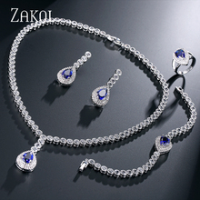 ZAKOL Trendy Sapphire Water Drop Shape CZ Diamond Jewelry Set With Platinum Plated Inlayed Ladies For