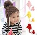 Детские Детские Beanie Девушки/Мальчики Cap Зимний Hat Теплые Вязаные Помпоном Покрытия