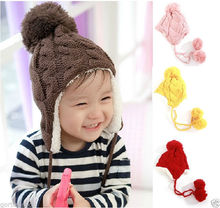 Baby Childrens Beanie Girls Boys Cap Winter Hat Warmer Knitted Pompon Covering